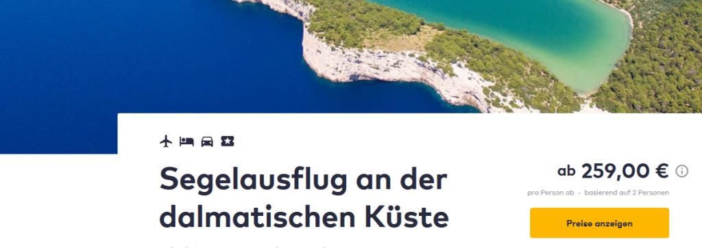 Screenshot Dalmatien Kroatien Segeln an der Küste ab 259,00€
