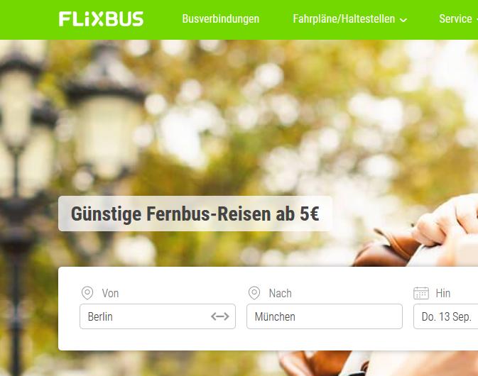 Screenshot Deal → Günstig mit dem Fernbus reisen
