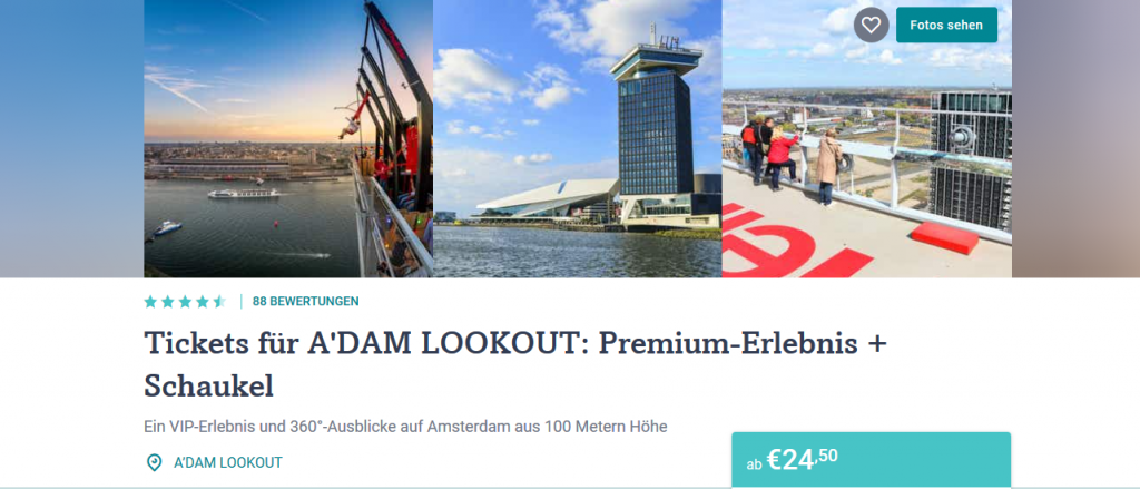 Screenshot Deal A'Dam Lookout Ticket Schaukeln auf 100 Meter