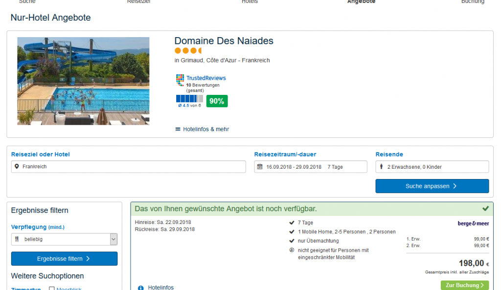 Screenshot Deal - Cote d'Azur günstig Hotels 7 Nächte ab 99,00€ p.P