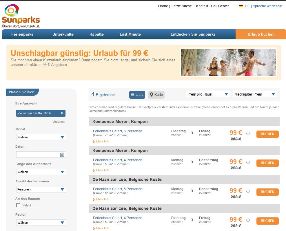 Screenshot Deal--Günstig Urlaub in Belgien