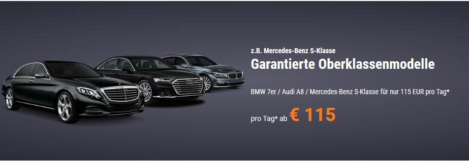 Screenshot Deal-- Garantierte Oberklassenmodelle Jetzt günstig Mercedes Benz S Klasse mieten