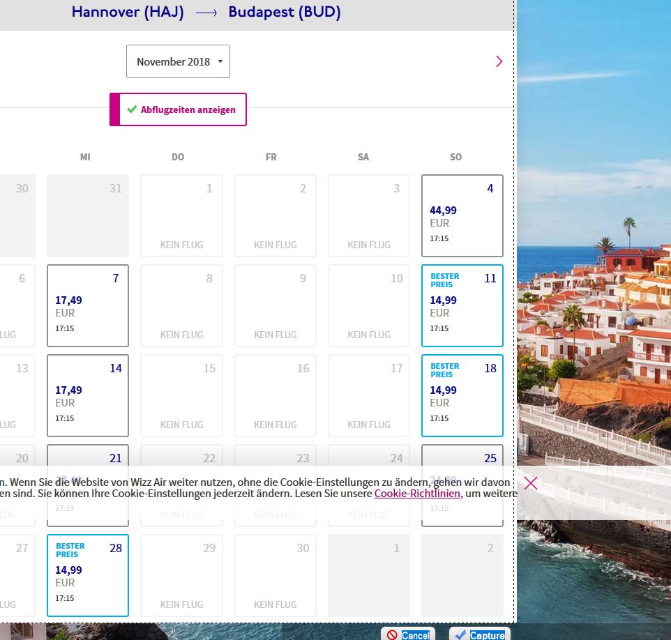 Screenshot Deal- Hannover → Budapest günstige Flüge Wizz Air