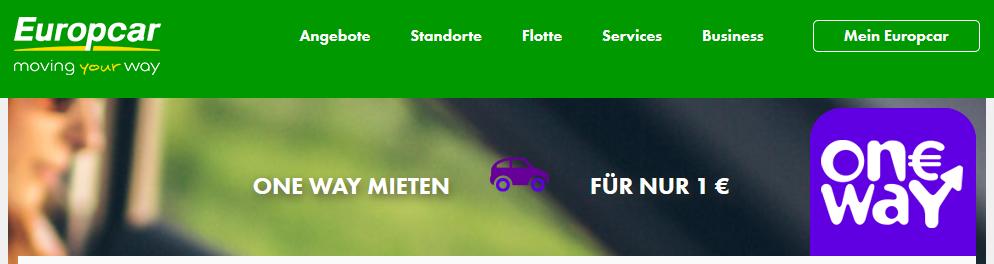 Screenshot Deal - OneWay Einwegmieten für nur 1 € Europcar Autovermietung