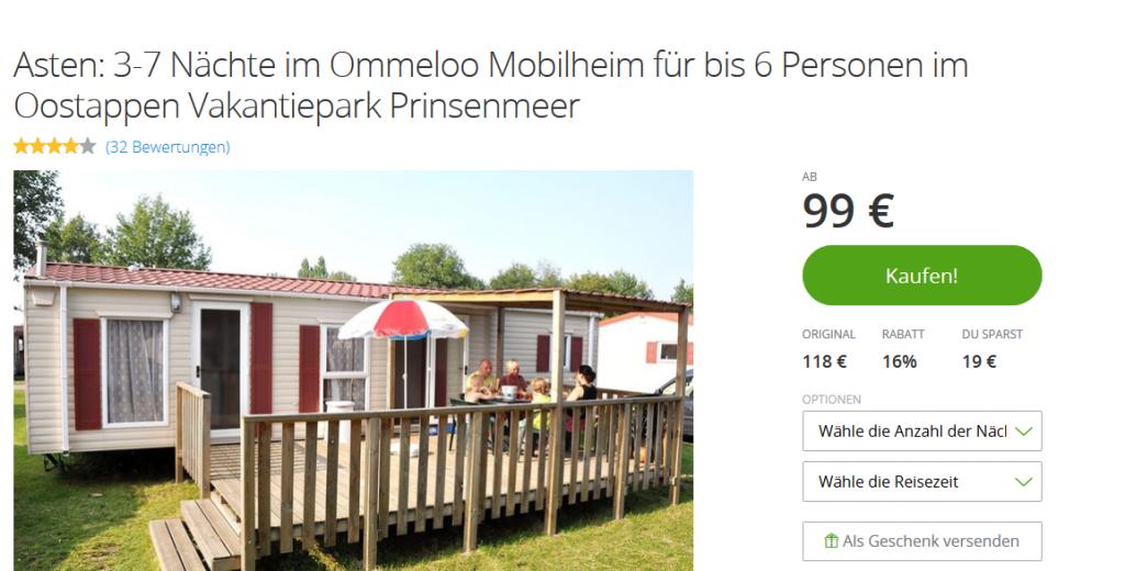 Screenshot Deal -Oostappen Vakantiepark Prinsenmeer Bis zu 33 Rabatt Groupon Hotels und Reisen