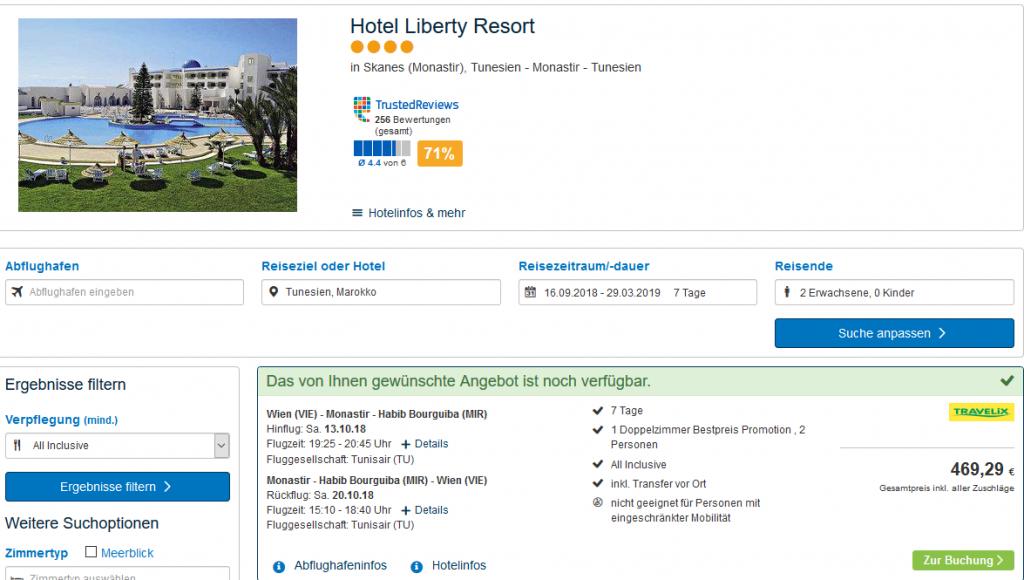 Screenshot Deal-Tunesien Urlaub günstig All inclusive