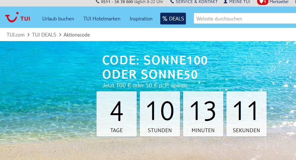 Screenshot Deal - TUI AKTIONSCODE » Einlösen und sparen TUI.com