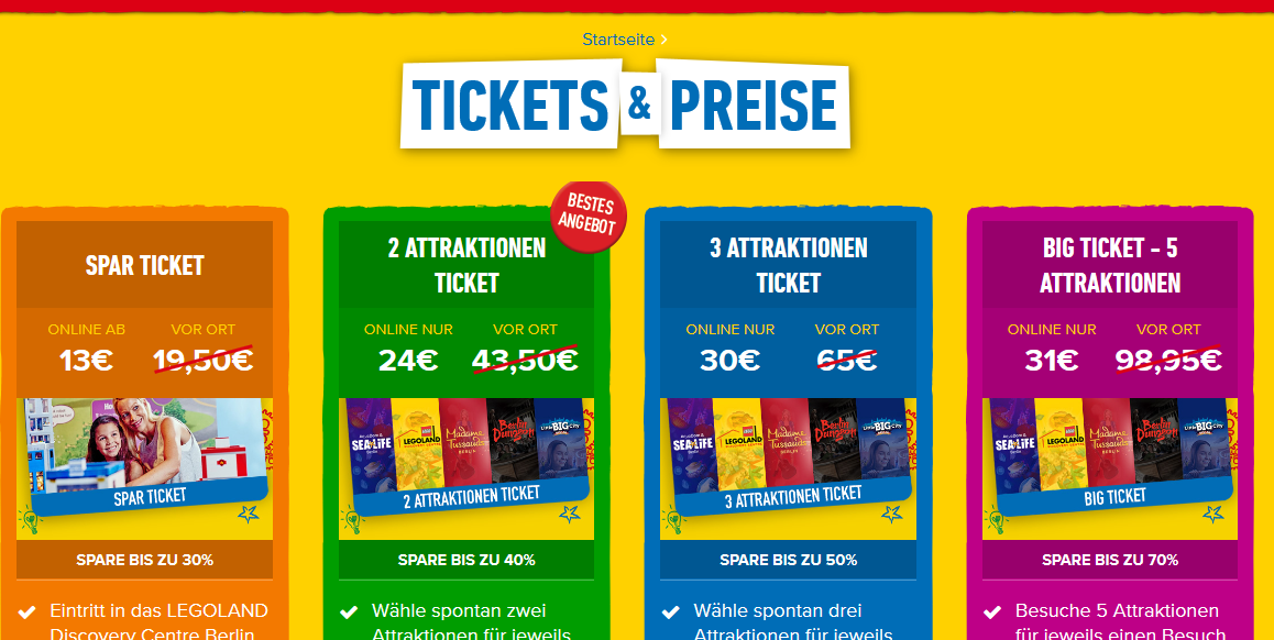 Screenshot Deal - Tickets Preise für das LEGOLAND Discovery Centre Berlin
