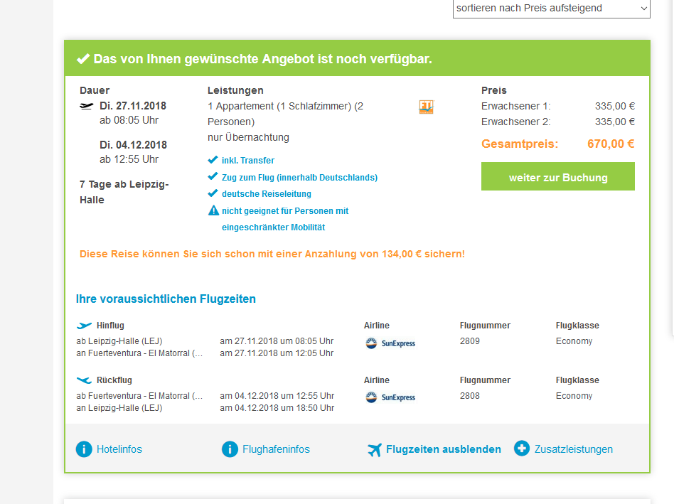 Screenshot Fuerteventura günsitg Las Marismas ab 335,00€ p.P 55% Rabatt