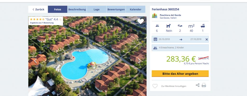 Screenshot Günstig Ferienhaus Gardasee