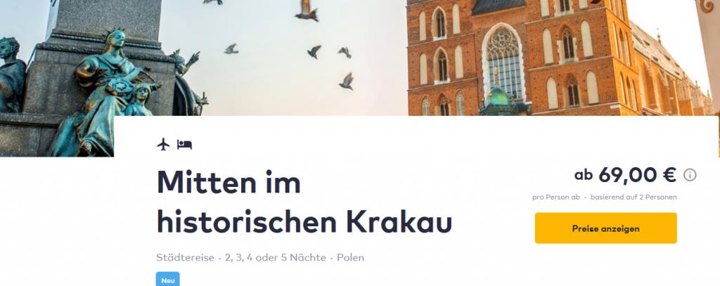 Screenshot Günstig nach Krakau ab 69,00€ Flug + Hotel