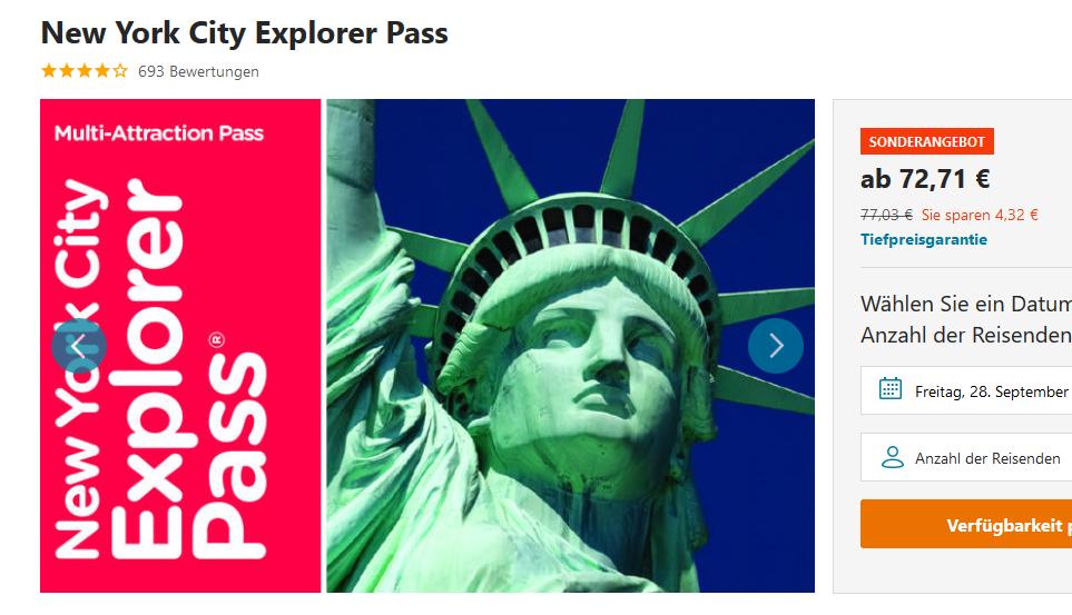 Screenshot Günstig nach New York City Pass für Sehenswürdigkeiten