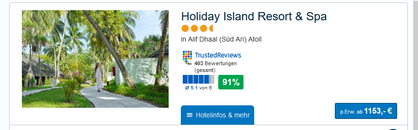 Screenshot Günstige Reise Malediven