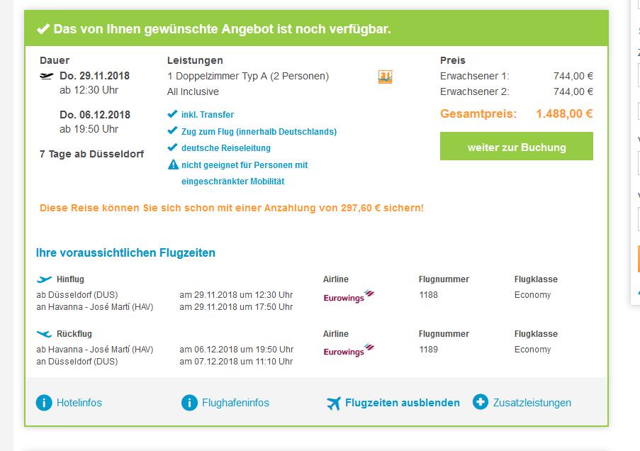 Screenshot Kuba All Inclusive Urlaub 7 Tage bis zu 75% Rabatt ab 744,00€