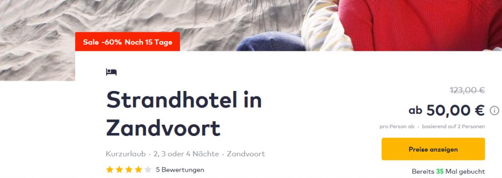 Screenshot Deal Zandvoort Strand Kurzurlaub p.P ab 25,00€ die Nacht !