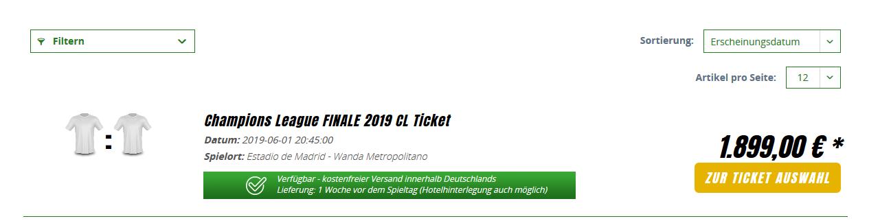 Screenshot Deal Günstig Champions League Finale - 2019 Tickets = ab 1899,00€