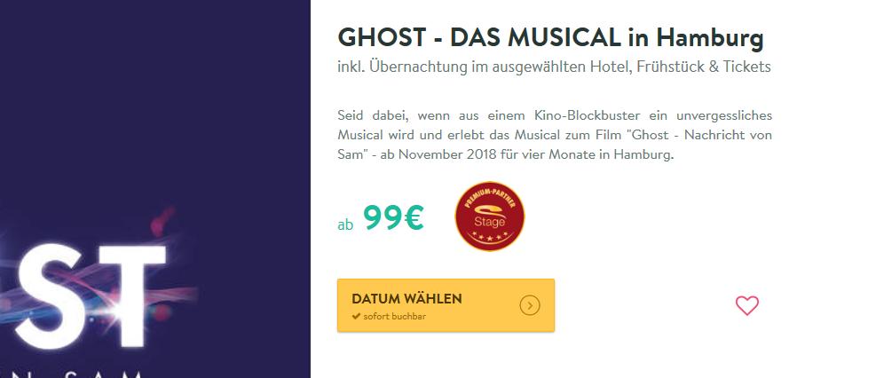 Screenshot Ghost Musical Hamburg günstig ab 99,00€ pro Person