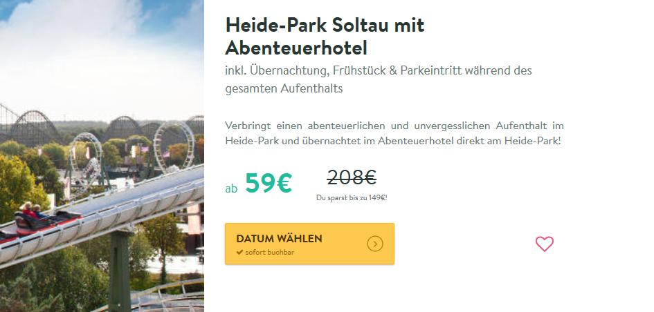 Screenshot Günstig ins Heide Park Soltau ab 59,00€ pro Person