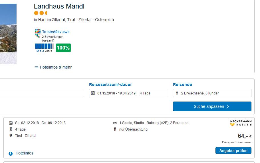 Screenshot Günstig Skiurlaub im Zillertal 4 Nächte ab 64,00€