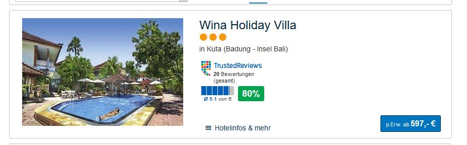 Screenshot Deal Bali reise günstig ab 597,00€ 5 Nächte pro Person