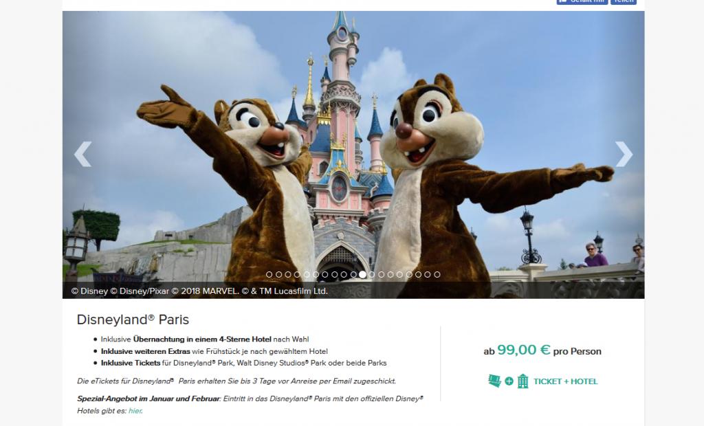 Screenshot Deal Disneyland Paris günstig buchen ab 99,00€ - Übernachtung im 4 Hotel