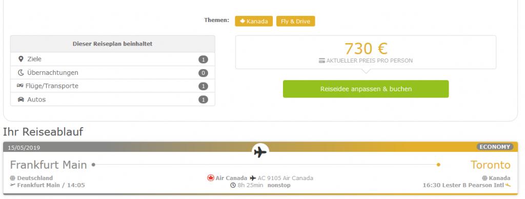 Screenshot Deal Fly Drive Toronto - Selbstfahrer Rundreise 12 Tage Fly & Drive ab 730,00€