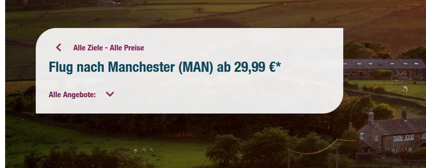 Screenshot Deal Günstigen Flug Manchester bis Düsseldorf ab 29,00€ - Manchester