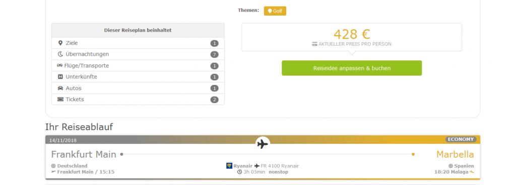 Screenshot Deal Golfurlaub in Spanien - Andalusien an der Costa Del Sol günstig ab 428,00€