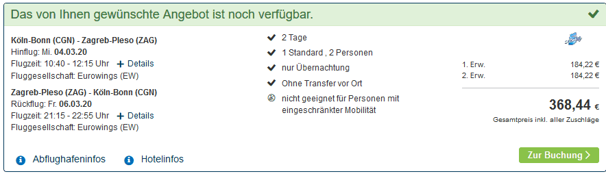 Screenshot Deal Günstige Städtereise nach Zagreb ab 199,00€ pro Person