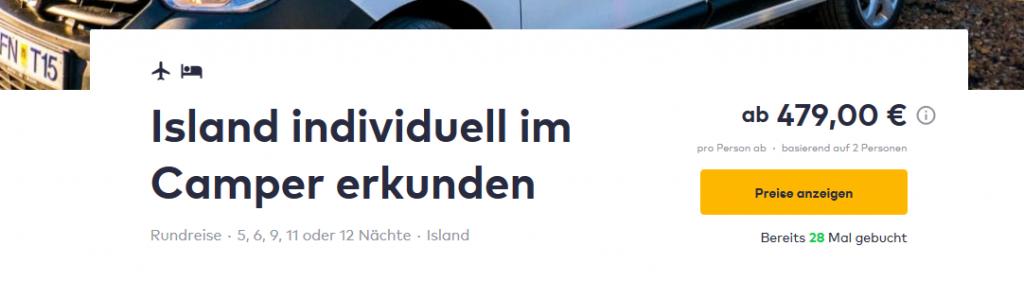 Screenshot Deal Island entdecken mit dem Camper günstig ab 479,00€ - Reykjavik Island 5-11 Nächte