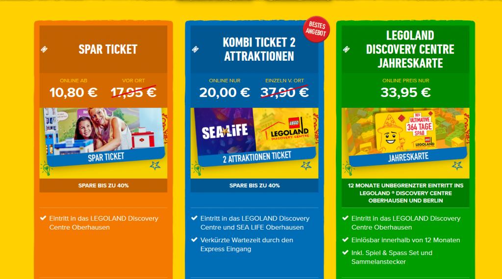 Screenshot Deal Jahreskarte für Legoland günstig ab 33,95€ - Oberhausens Freizeitspark