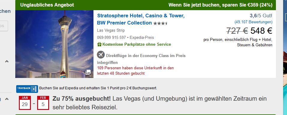 Screenshot Deal Las Vegas Nevada Pauschalreise 24 % Rabatt 7 Tage