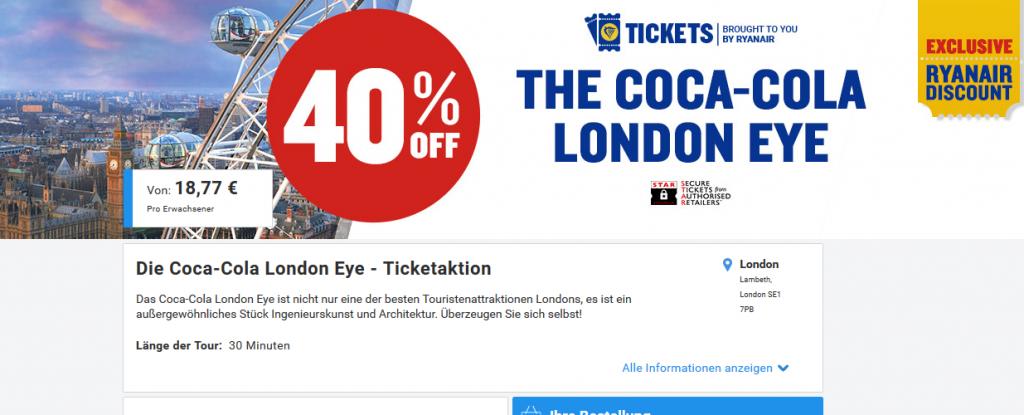 Screenshot Deal London Eye Ticket günstig Kaufen 40% günstiger The Coca-Cola London Eye