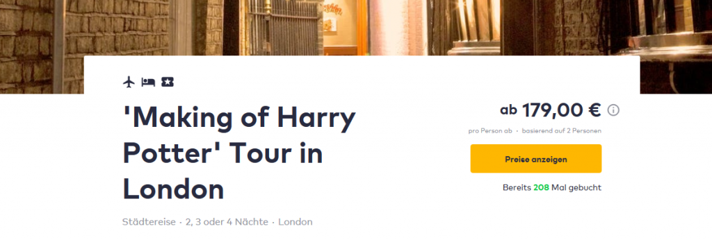 Screenshot Deal Reise nach Hogwarts günstig ab 179,00€ - 2 Nächte