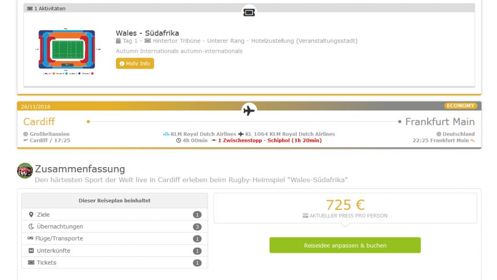 Screenshot Deal Reise nach Wales 3 Nächte inklusive Rugby Ticket Wales vs. Südafrika