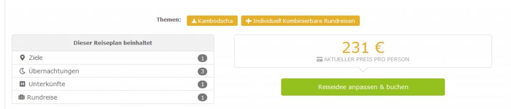 Screenshot Deal Rundreise Kambodscha entdecken 4 Tage ab 231,00€ p.P