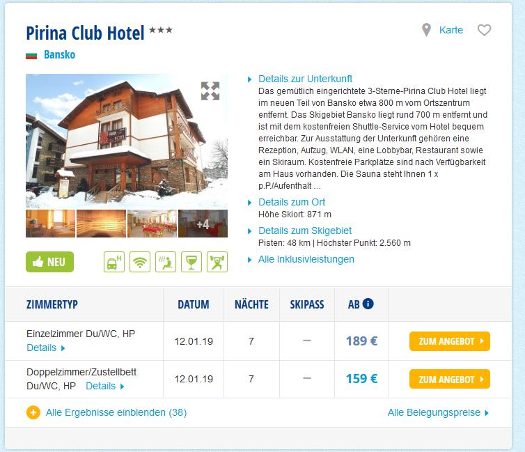 Screenshot Deal Skiurlaub in Bulgarien - Bansko 3 Sterne Hotel ab 159,00€ p.P - Halbpension