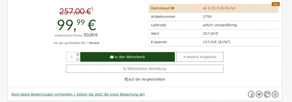 Screenshot Deal Städtereise nach Berlin die Nacht ab 24,99€ - 3 Sterne = 61 % Günstiger