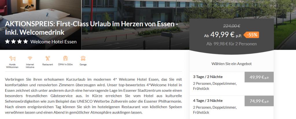 Screenshot Deal Städtereise nach Essen ab 24,99€ die Nacht - 4 Sterne Hotel