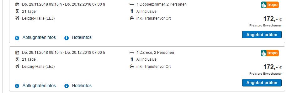 Screenshot Deal Türkei All Inclusive 3 Wochen ab 172,00 €