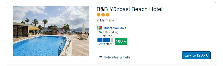 Screenshot Deal Türkei Urlaub günstig eine Woche ab 120,00€ - günstige Reisedeals Türkei