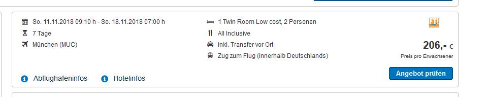 Screenshot Deal Türkei eine Woche All Inklusive - günstig nach Antalya Belek ab 206,00€