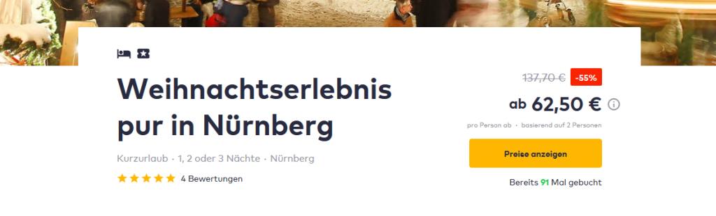 Screenshot Deal Weihnachtsmarkt in Nürnberg 55% günstiger Übernachten + Frühstück