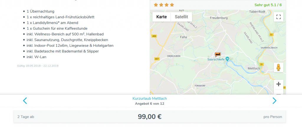 Screenshot Deal Wellnessurlaub im Saarland ab 99,00€ - Kurzurlaub an der Saarschleife