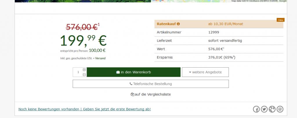 Screenshot Deal Wellnessurlaub in Deutschland 65 % günstiger ab 199,99 anstatt 576,00€