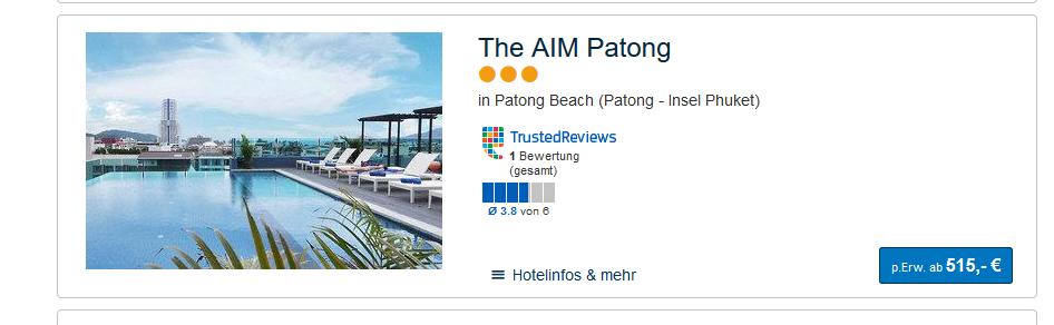 Screenshot Deal Pauschalreise Phuket Patong Beach - Thailand 11 Tage günstig ab 515,00€