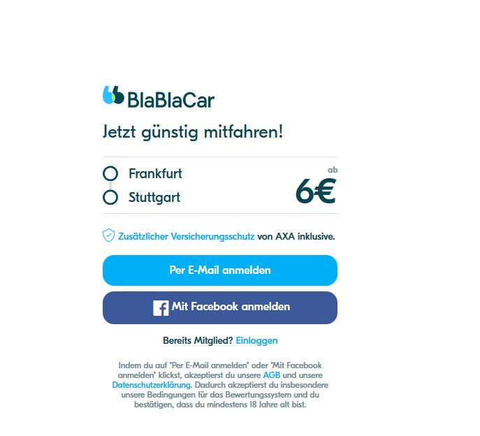 Screenshot Deals Günstige Mitfahrgelegenheiten schon ab 6,00€