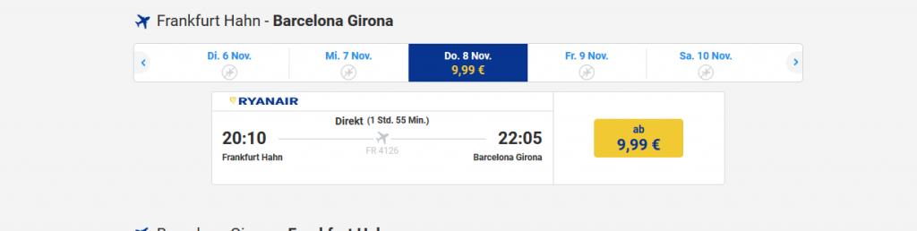 Screenshot Flug Beispiel nach Barcelona