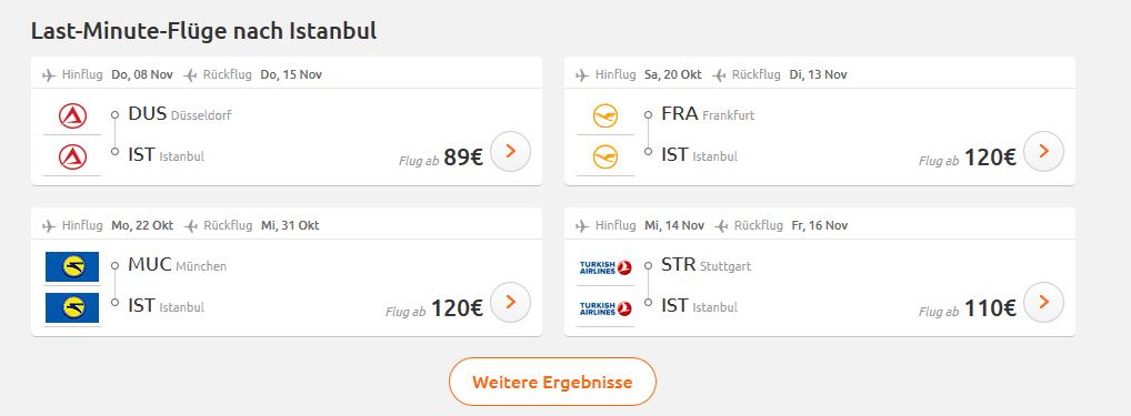 Screenshot Flugdeal Istanbul interessante Orte - Flüge ab 92,00€ & Hotel ab 98,00€ = 1 Woche