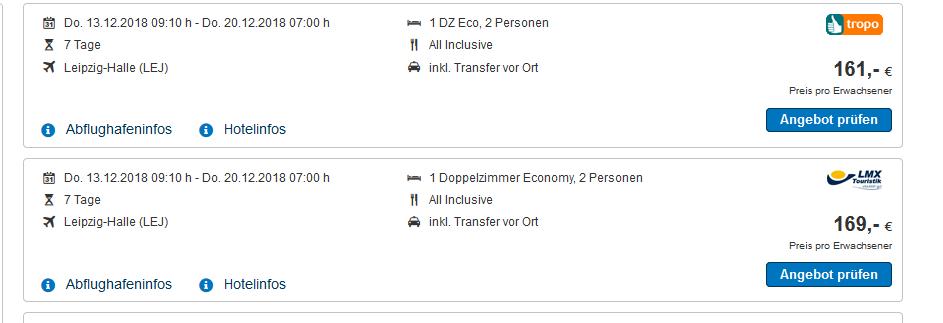 Screenshot Türkei All Inclusive Urlaub Deal